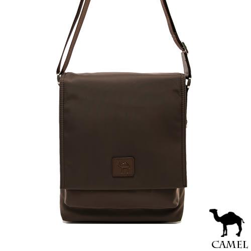 CAMEL - 倫敦品味十字紋防潑水牛皮掀蓋側背包-質感咖