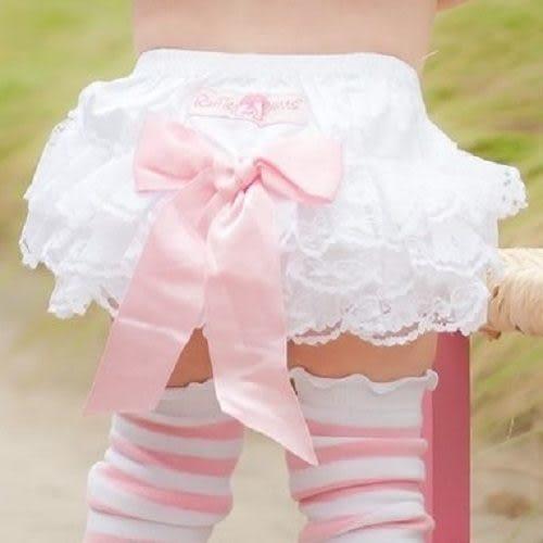 包屁褲 Rufflebutts 小女童荷葉包屁褲 / 短褲 - 白色蕾絲粉紅大蝴蝶結 RBWWH-PBWL