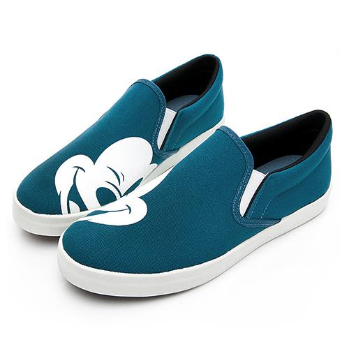 DISNEY 俏皮話題 米奇大頭不對稱懶人鞋-藍(DW5610)