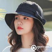 帽子女夏天盆帽漁夫帽純色蝴蝶結韓版百搭學生可愛太陽帽遮陽帽