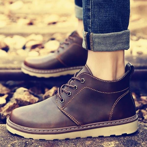 英倫馬丁靴男靴子男士高筒鞋男鞋棉鞋工裝短靴加絨保暖雪地靴冬季 童趣