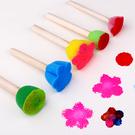 【BlueCat】彩色迷你花型海绵木棍印章 塗鴉彩繪  (5入)