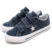 Converse One Star 3V 藍 深藍 白 魔鬼氈 一星 女鞋 大童鞋 版型偏大可小一號 【PUMP306】 658492C