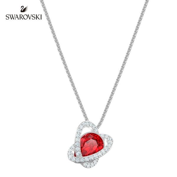 施華洛世奇 Outstanding 金色愛心飾框梨形紅墜飾項鏈