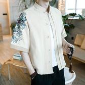 亞麻短袖襯衫大碼刺繡漢唐裝
