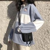 POLO衫 可愛翻領POLO衫女韓版原宿寬鬆學生長袖加絨加厚衛衣ins潮 麗人印象 免運