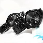 ALBA / VJ42-X250SD.VJ22-X280SD / 簡約時尚 藍寶石水晶玻璃 日期 不鏽鋼手錶 情人對錶 鍍黑色 42mm+31mm