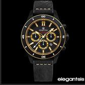 贈包★ELEGANTSIS 黑金騎士重機大錶面厚皮帶三眼錶X47mm ELJT65R-6G02LC 公司貨|名人鐘錶高雄門市