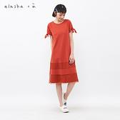 a la sha +a 小圓點網紗綁帶袖洋裝
