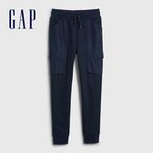 Gap男童 時尚拼接設計鬆緊休閒褲 540249-海軍藍
