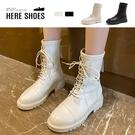 [Here Shoes] 4CM中筒靴 率性百搭英倫風 筒高19CM皮革厚底綁帶後拉鍊靴 騎士靴-KG8751