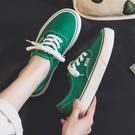 帆布鞋 薄款綠色帆布鞋女低幫百搭2021年新款夏季透氣板鞋平底休閑布鞋子 歐歐