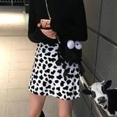 櫻田川島chic秋冬網紅可愛毛絨絨奶牛斑點高腰少女半身A子裙短裙