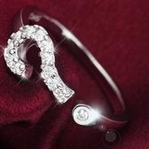 戒指 925純銀 鑲鑽-名媛焦點生日情人節禮物女開口戒73dt201【時尚巴黎】