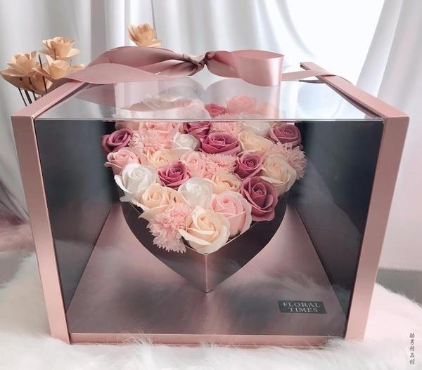 大號全景愛心禮盒玫瑰皂花 七夕情人節送花女友生日創意禮物浪漫 酷男精品館