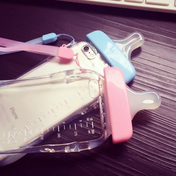 [奶瓶 奶嘴 來電 閃光 閃殼 手機殼 蘋果 iphone6s i6s plus i5 5s se 帶掛繩 可愛 透明 手機套