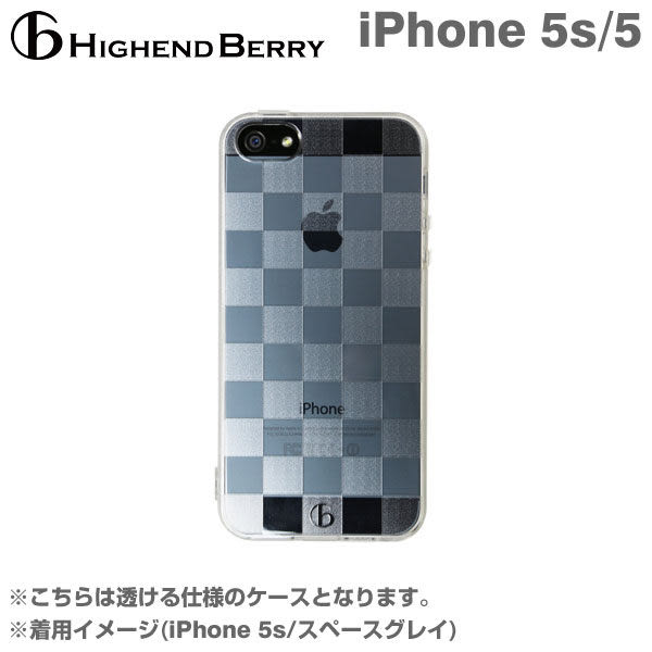 ❤Hamee 日本 Highend Berry 設計圖樣系列 透明TPU軟式 iPhone5S 手機殼 (透明格紋) [558-989751]