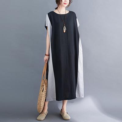 棉麻洋裝~胖妹妹大碼洋裝連身裙~拼接拼色寬松顯瘦棉麻大碼連身裙女FFA028A愛尚布衣