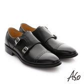 A.S.O 職人通勤 牛皮鬆緊帶皮鞋-黑