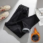 大碼長褲~911大碼女裝新款加絨燈芯絨拼接抓毛寬松牛仔褲哈倫褲MA151A莎菲娜