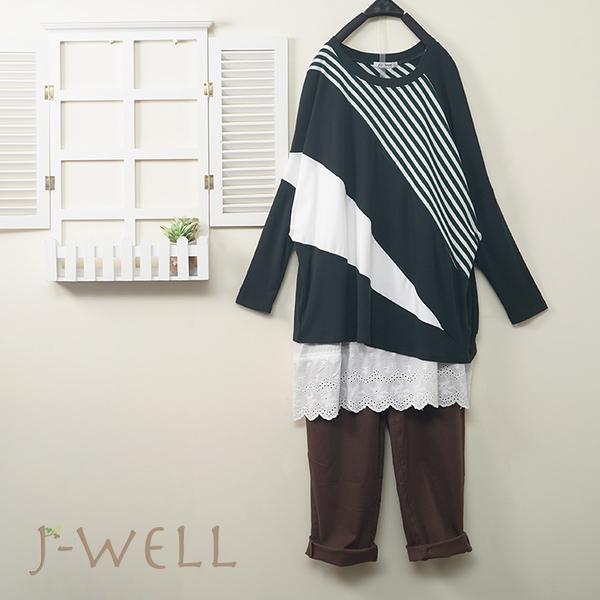 J-WELL 條紋色塊上衣蕾絲背心男友褲三件組(組合A503 9J1043綠+8J1126白+9J1062咖)