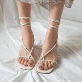 綁帶涼鞋新款裸色繫帶方頭綁帶高跟鞋交叉綁帶 中跟羅馬涼鞋女夏粗跟 海角七號
