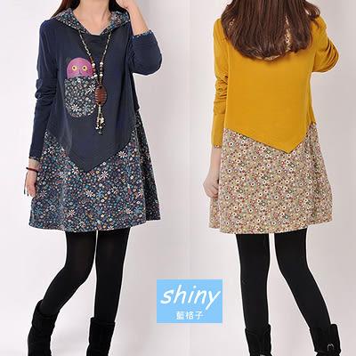 【V1327】shiny藍格子-日系甜美.小花朵拼接寬鬆連帽長袖連身裙