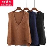 馬甲女短款韓版學生學院風春秋季新款針織背心毛衣坎肩馬夾
