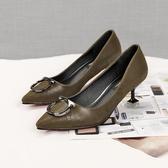 尖頭細跟鞋 韓版性感氣質高跟鞋時尚淺口鞋《小師妹》sm1167