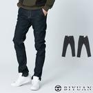 【OBIYUAN】韓版牛仔褲 髮絲紋 彈力 合身 小直筒 長褲【P2188】