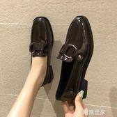 黑色小皮鞋女英倫2019新款韓版百搭學生復古樂福粗跟單鞋一腳蹬鞋『潮流世家』