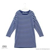 【INI】簡單日常、基本百搭條紋棉質長版上衣.深藍色
