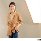 《AB13526》純色長版翻領收腰綁帶排扣七分袖/短袖上衣 OrangeBear