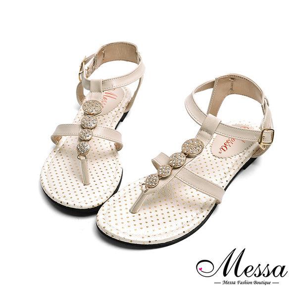 【Messa米莎專櫃女鞋】MIT金屬水鑽一字繫踝平底涼鞋-米色