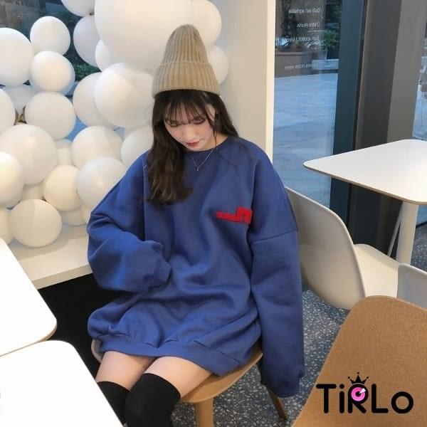 長T-Tirlo-QQ毛巾布拼接刷毛大學T-三色(現+追加預計5-7工作天出貨)