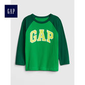 Gap男嬰幼童 logo插肩長袖圓領T恤 496362-翠綠