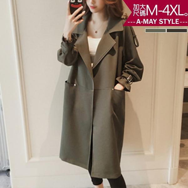 加大碼外套-率性西裝領中長版顯瘦風衣(M-4XL)