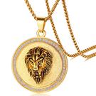 《QBOX 》FASHION 飾品【CPN-1027】精緻個性歐美嘻哈金色圓盤獅子頭鈦鋼墬子項鍊/掛飾