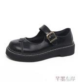 娃娃鞋女鞋秋鞋百搭英倫風復古大頭鞋淺口魔術貼娃娃鞋單鞋春季特賣