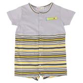 【愛的世界】純棉條紋拼色衣連褲/6M~2歲-台灣製- ---春夏連身 涼夏推薦