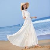 新款女氣質長裙大擺長款連衣裙夏修身白色裙子蕾絲拼接沙灘裙 快速出貨