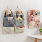 布藝置物收納袋墻掛式多層壁掛袋掛墻上【櫻田川島】