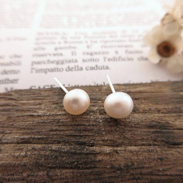 ☆§海洋盒子§☆5.5mm~白色系天然珍珠耳環《925純銀耳環》