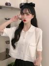 短袖POLO衫 短袖上衣夏季2021年新款設計感小眾POLO領針織衫小個子T恤女ins潮