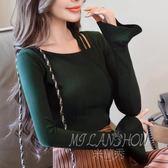 韓版顯瘦個性喇叭袖體恤 長袖T恤 修身打底衫小禮服