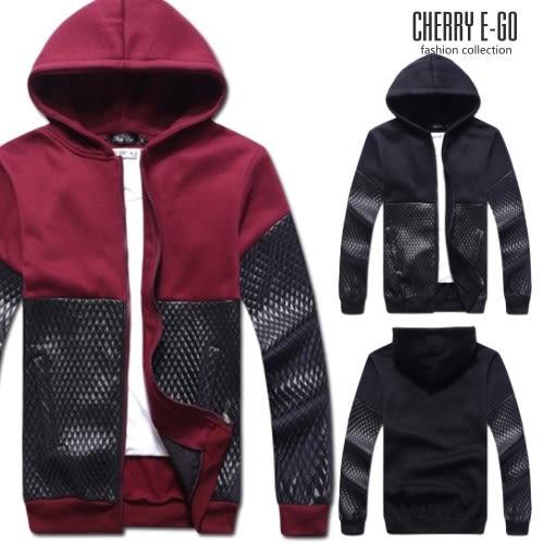 Cherry e購【UC00201】韓版潮男,剪接菱紋皮連帽刷毛外套_2色