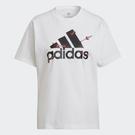 adidas V-DAY 情人節 短T LOGO 愛心 白 女款 GL0870
