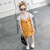 女童連衣裙夏裝新款韓版兒童假兩件女寶寶公主裙小女孩裙子潮『櫻花小屋』