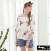 【JEEP】女裝 印花圖騰短袖襯衫-白色