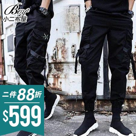 縮口褲 飄帶多口袋大尺碼工作褲黑褲【NZ75919】